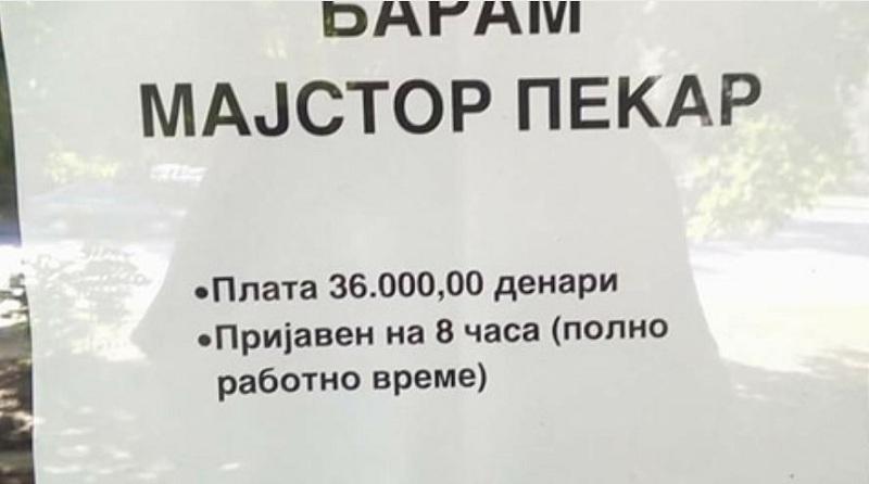Работата како пекар поисплатлива во Македонија  отколку работа со факултетска диплома